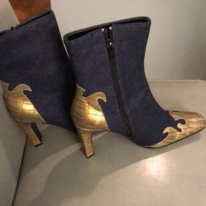 Newport News Gorgeous Denim and Gold Booties